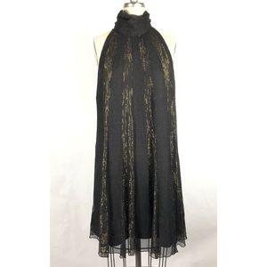 Cache Luxe Silk Dress Black and Gold Dress Sz M
